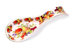Ceramic spoon. Ceramic stand for spoons on a white background Royalty Free Stock Image