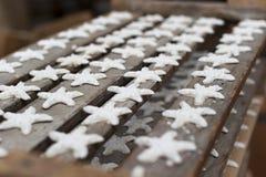 Ceramic stars handmade drying. Handmade ceramic stars in drying, in an artisan workshop of vietri sul mare campania, Vietri ceramics - Made in Italy excellence Royalty Free Stock Photo