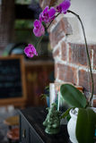 Ceramic statuette of Ganesh, books and flower pots with purple orchid on black wooden commode Royalty Free Stock Photo