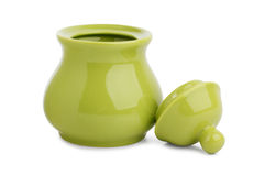 Ceramic sugar bowl of green Stock Image