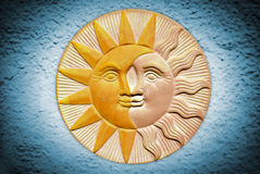 Ceramic sun and moon Stock Photo