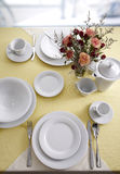 Ceramic tableware. On the table Stock Photos