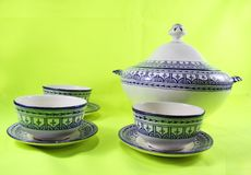 Ceramic tableware, ceramic cooking morocco Ramadan pot isolated stock photography