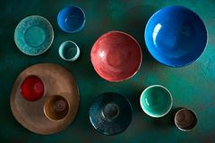 Ceramic tableware dishes plates on grungy stock images