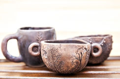 Ceramic tableware handmade. Cups of clay Royalty Free Stock Images