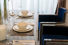 Ceramic tableware on the marble worktop Royalty Free Stock Image