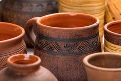 Ceramic tableware in milking technique. Hand-made. Stock Images