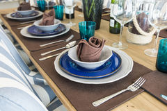 Ceramic tableware on the table Royalty Free Stock Images