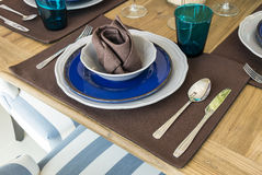 Ceramic tableware on the table Stock Photo