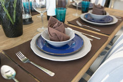 Ceramic tableware on the table Royalty Free Stock Photo