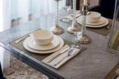 Ceramic tableware on table Royalty Free Stock Photos