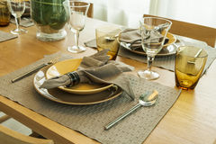 Ceramic tableware on the table Stock Photography