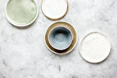 Ceramic tableware top view on stone background mock up Royalty Free Stock Photo