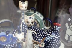 Ceramic tableware with a traditional Polish design in a souvenir shop Stock Photos