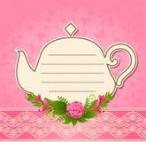 Ceramic tea pot with beautiful flowers Stock Images