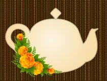 Ceramic tea pot with beautiful flowers Royalty Free Stock Image