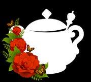 Ceramic tea pot with beautiful flowers Royalty Free Stock Photos