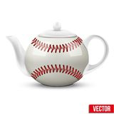Ceramic Teapot In Baseball Ball Style. Football Stock Photo