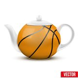 Ceramic Teapot In Basketball Ball Style. Football Royalty Free Stock Photo