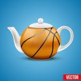 Ceramic Teapot In Basketball Ball Style. Vector Stock Photos