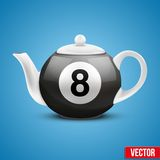 Ceramic Teapot In Billiard Pool Ball Style. Vector Royalty Free Stock Image