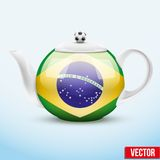 Ceramic teapot in Brazil soccer style. Football Royalty Free Stock Images