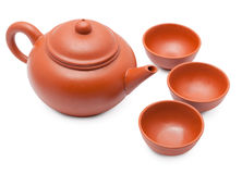 Ceramic teapot and cups Royalty Free Stock Photo