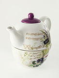Ceramic teapot with decorative Provance motive sign Stock Photos