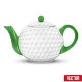 Ceramic Teapot In Golf Ball Style. Football Vector Stock Photo
