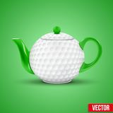 Ceramic Teapot In golf Ball Style. Vector Royalty Free Stock Photography