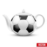 Ceramic Teapot In Soccer Ball Style. Football Stock Images