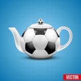 Ceramic Teapot In Soccer Ball Style. Vector Stock Photo