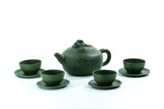 Ceramic teapot and teacups Royalty Free Stock Images