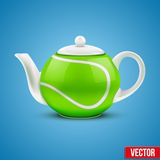 Ceramic Teapot In Tennis Ball Style. Vector Stock Images