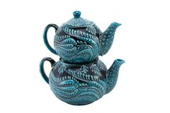 Ceramic teapot Turkey Kutahya cini. Ceramic is the name for materials that are formed by the use of heat. The word ceramic comes from the Greek word Royalty Free Stock Image