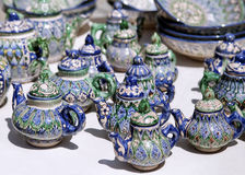 Ceramic teapots, Uzbekistan. Traditional ceramic teapots on a street market, Uzbekistan Stock Photos