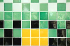 Ceramic Tile. Old ceramic tiles in yellow, green, black and white Royalty Free Stock Photography