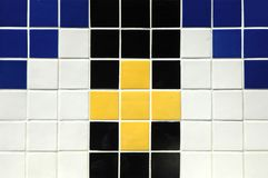 Ceramic Tile. Old ceramic tile in blue, white, yellow and black Stock Photos