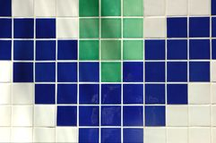 Ceramic Tile. Old ceramic tile in blue, green and white Royalty Free Stock Image