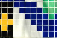 Ceramic Tile. Old ceramic tile in black, green, yellow, white and blue Royalty Free Stock Photography