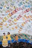 Ceramic tile artwork. Butterflies and female figures, ceramic tile art royalty free stock photos
