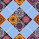 Ceramic tile in boho style. Beautiful patchwork pattern. With flower - mandalas Royalty Free Stock Images