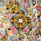 Ceramic tile, broken glass mosaic, decoration in Park Guell, Bar Royalty Free Stock Photos