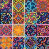 Ceramic tile with colorful patchwork in spanish style. Spanish ceramic seamless pattern in pink, blue and orange colors. Mosaic patchwork ornaments for design royalty free illustration