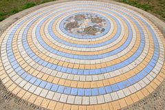 Ceramic tile concentric landscape architecture Royalty Free Stock Photography