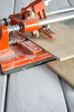 ceramic tile cutting process Royalty Free Stock Images