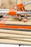 ceramic tile cutting process Royalty Free Stock Photos