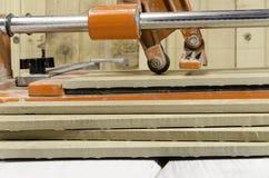 ceramic tile cutting process Stock Photo