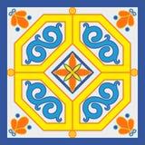 Ceramic tile decoration in old sicilian style stock illustration
