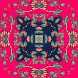 Ceramic tile. Decorative floral ornament. Lovely tablecloth. Royalty Free Stock Photography